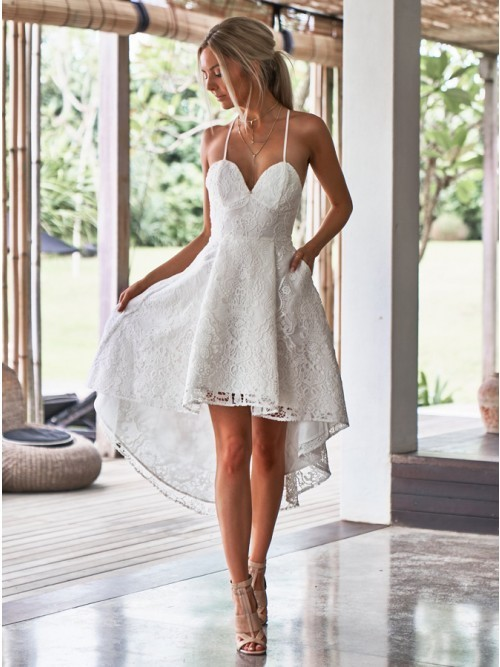 Spaghetti Straps High Low Lace Little White Homecoming Dress