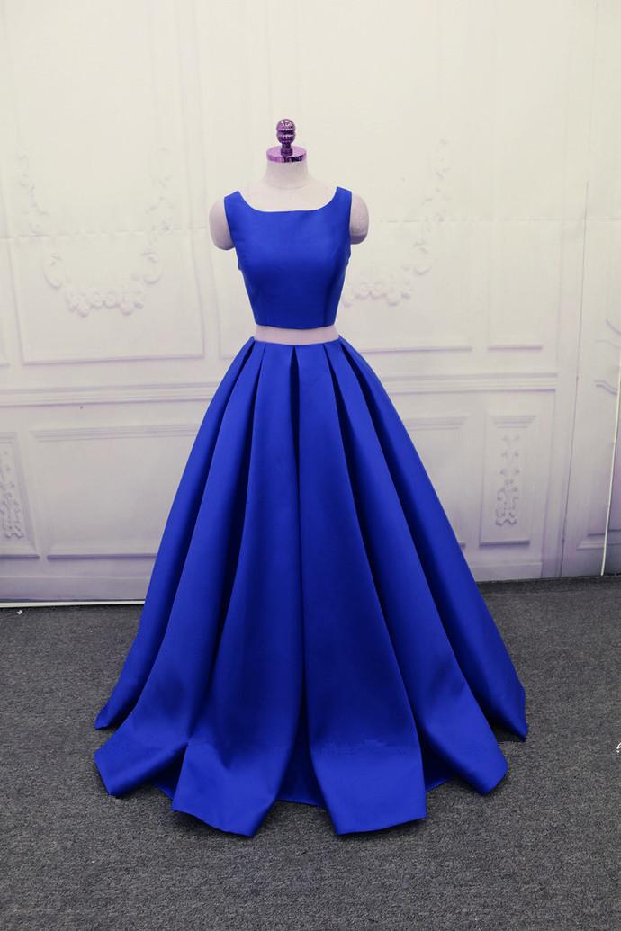 Two Piece Long Party Dresses, Satin Formal Dress, Royal Blue Formal Dresses
