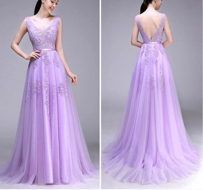 Cute Lilac Tulle V-neckline Handmade Prom Dress, Beautiful Prom Dress, Lovely
