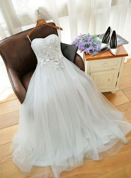 Beautiful Light Grey Tulle Long Sweetheart Party Dresses, Prom Gowns, Wedding