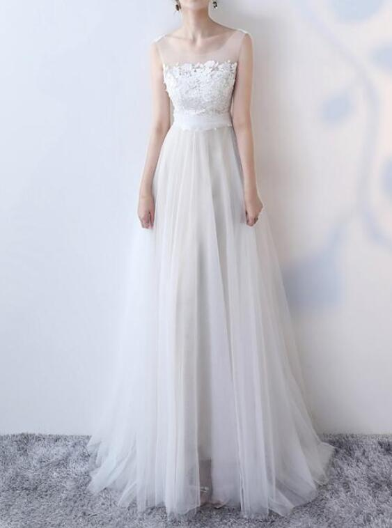 Simple Tulle Off White Long Bridal Gown with Lace Applique, Charming Formal