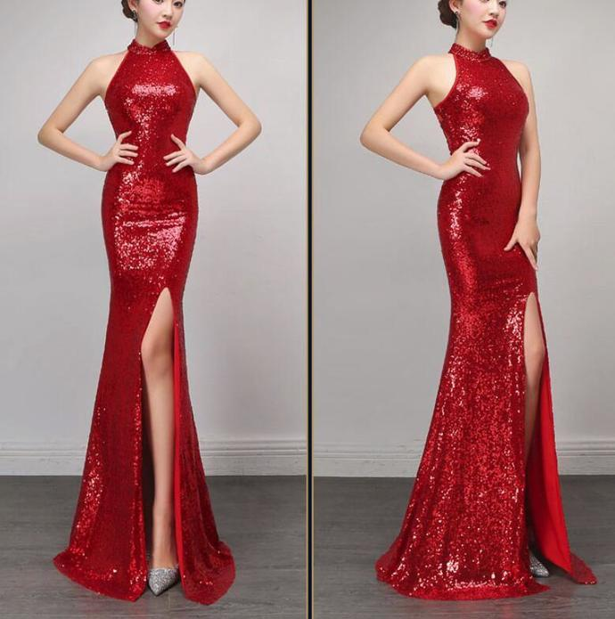 Sexy Red Halter Slit Sequins Prom Dress 2018, Red Formal Gowns, Sequins Party