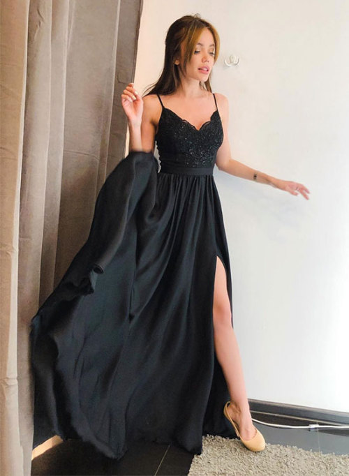 Spaghetti Straps Black Lace Long Prom Dresses ,Black Satin Prom Dress , Wedding