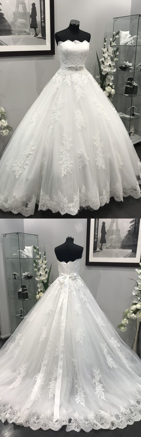 Lace Appliques Crystal Beaded Sashes Tulle Wedding Dresses Ball Gowns, Pricess