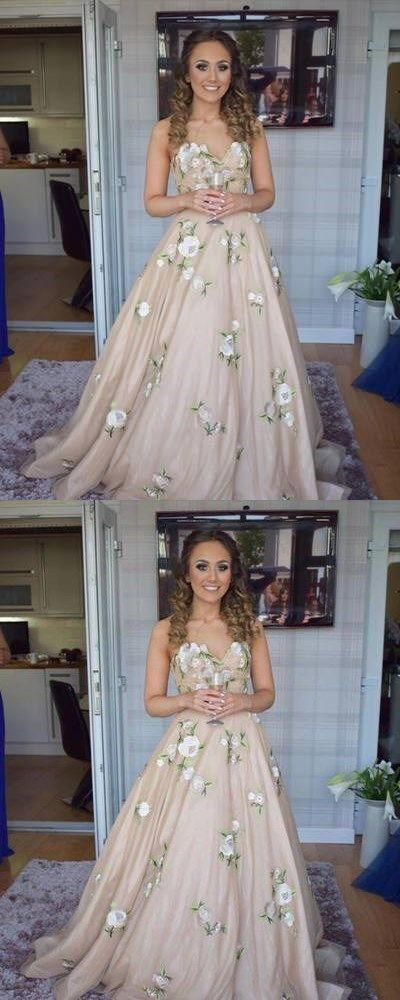 Princess Sweetheart Champagne Long Prom Dress with Floral,Cheap Prom