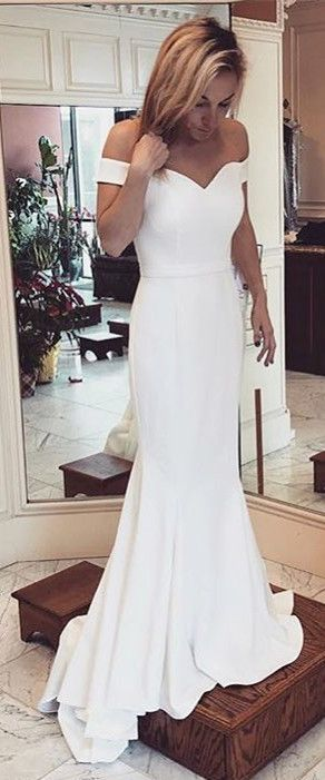 Gorgeous Off the Shoulder White Long Dress,Cheap Prom Dress,Formal Dress,861319