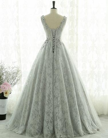 Gray lace tulle long prom dress, gray evening dress 2018