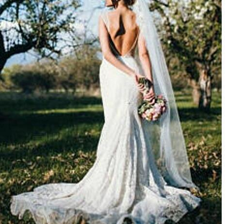 Lace Mermaid Wedding Dress Open Back Sheer Scoop Neck Drop Waist Elegant