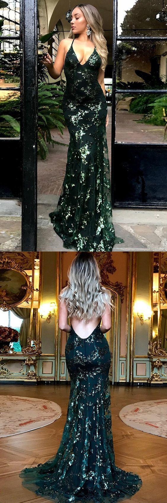 Mermaid Deep V-Neck Sweep Train Criss-Cross Straps Dark Green Sequined Prom