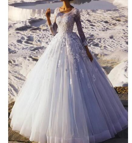 Princess Ball Gown Wedding Dress for Bride Illusion Neckline Sheer Long Sleeve