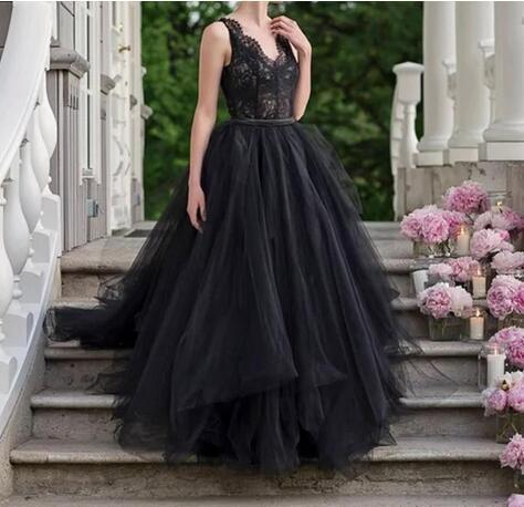 Black Lace Wedding Dress Simple Illusion V Neckline Princess Waist Tulle Skirt