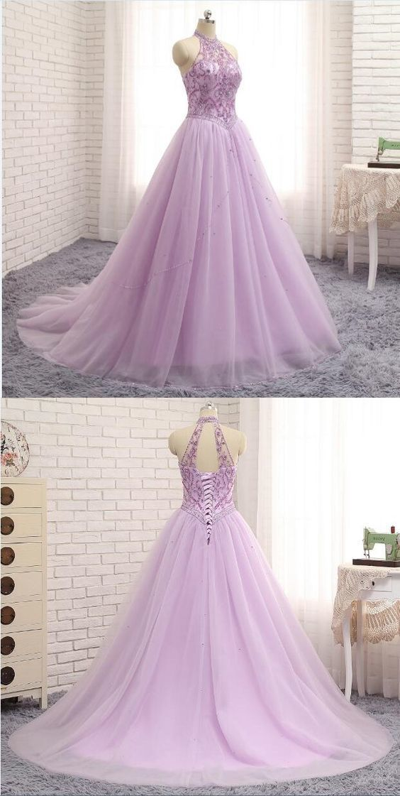 Princess tulle crystal long halter prom dress, beading long evening dress,Cheap