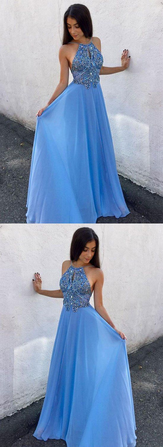 Blue chiffon beaded long prom dress, simple party dress,Formal Dress,861340