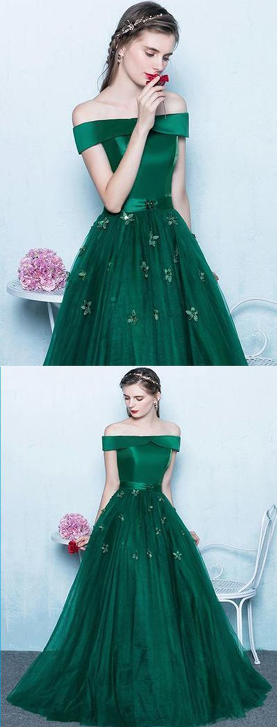 Deep green tulle off shoulder prom dress, long evening dress,Cheap Prom