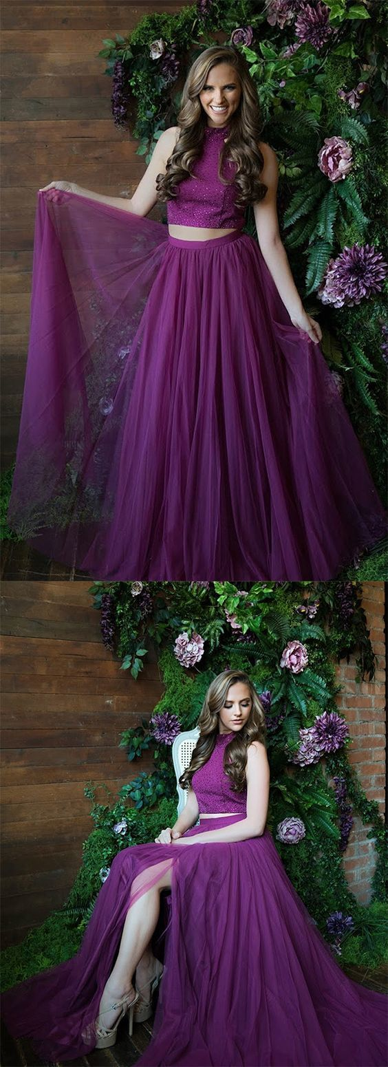 High Neck Prom Dresses,Two Piece Prom Dress,Purple Prom Gown,Cheap Prom