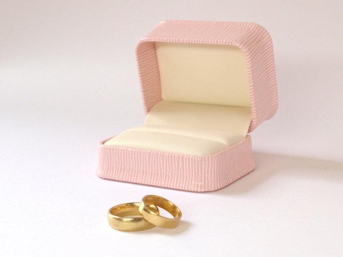 Pink Double Ring Box, Ring Gift Box, Wedding Ring Box, Pink Jewellery Box,