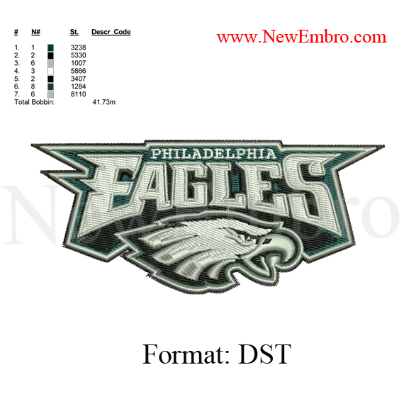 Custom embroidery, Eagles logo embroidery design embroidery pattern  ... 2 sizes
