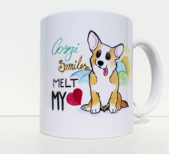 Corgi Smiles Melt My Heart, Cute Puppy Dog Quotes, Coffee Mug, Tea Cup