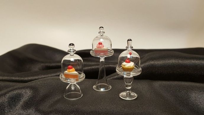 3 Stands glass cake cover for mini cake decorative dollhouse miniature Dinner