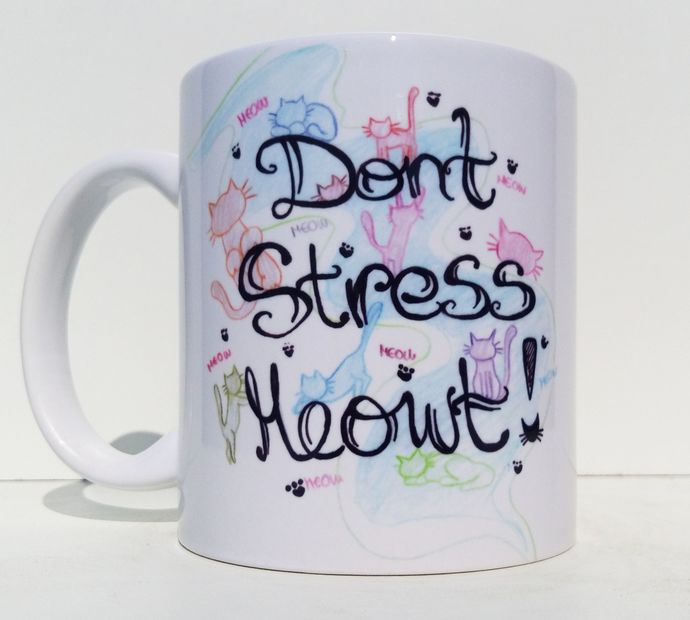 Dont Stress Meowt, Cute Cat Lover Gift, Coffee Mug, Tea Cup