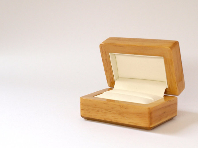 Wooden Ring Box For Two Rings Wedding Rings, Natural Or Rosewood Ring Box,