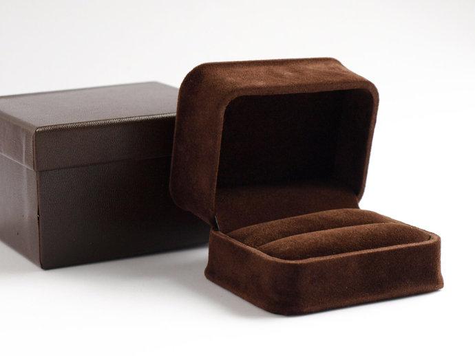 Chocolate Brown Velvet Double Ring Box, Jewellery Gift Box, Luxury Wedding Ring