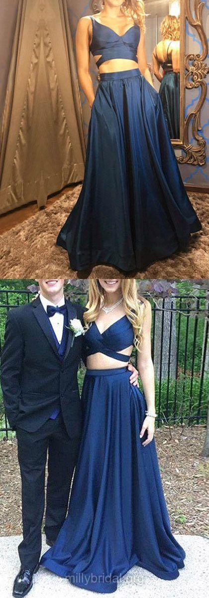 A-line V-neck Satin Floor-length Prom Dress,Cheap Prom Dress,Formal Dress,861347