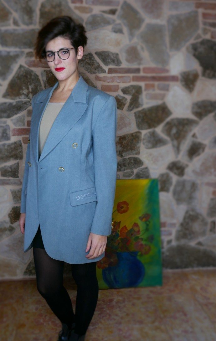 Vintage tiffany jacket 80's style OOAK Made in Italy