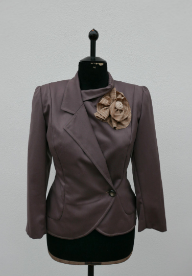 Vintage brown 60's jacket with buttons OOAK Made in Italy