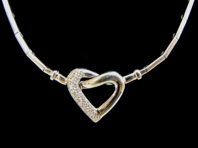 Womens Vintage Estate 14K Gold Necklace w/ Diamond Heart Pendant 29.7g E2792
