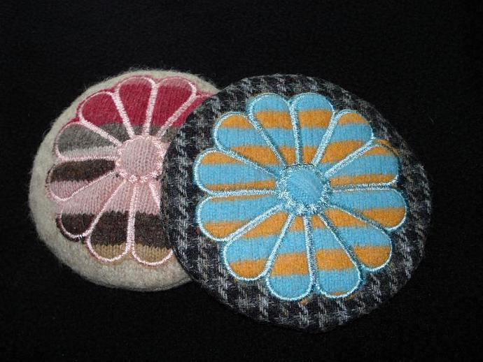 Pincushion - Embroidered Wool Blue, Orange