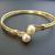 Womens Vintage Estate 14k Gold Bangle Bracelet w/ Pearls & Diamonds 12.9g E2749