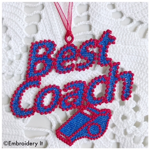 Free Standing Lace Best Coach Tag machine embroidery design in Pes, Dst, Exp,