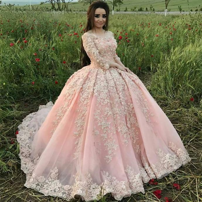 Long Sleeve Appliques Tulle Wedding Dress, Sexy Bridal Dresses