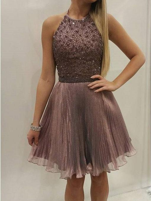 Tulle Prom Dress, Short Beaded Homecoming Dress, Elegant Prom Gowns