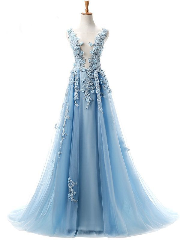 639ae706ff Dramatic A-Line Deep V-Neck Sleeveless Light Blue Tulle Long Evening Prom