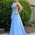 Sexy Open Back Long Prom Dress, Sleeveless Spaghetti Straps Chiffon Blue Evening