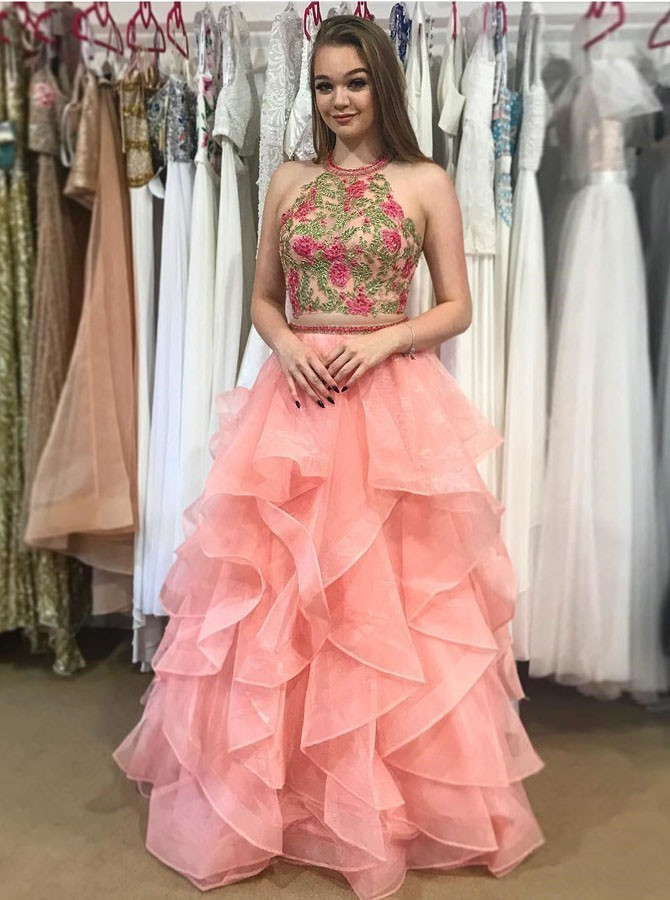 Sexy Prom Dress, Tulle Prom Dresses, Sleeveless Appliques Evening Dress