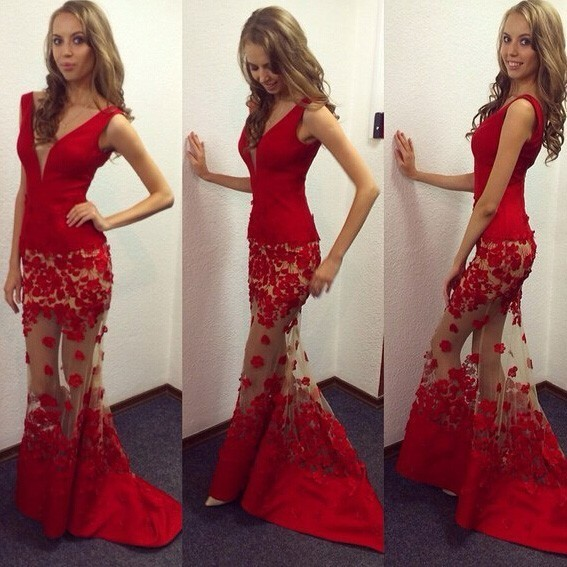 Formal Gown,Mermaid Evening Gowns,Sleeveless Red Prom Dress,Long Mermaid Prom
