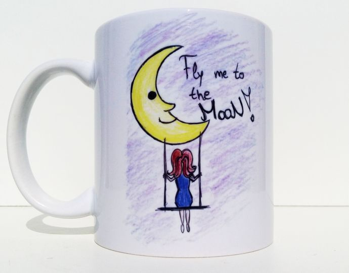 Fairy Mug, Fly Me To The Moon, Kids Mug, Coffee Mug, Tea Cup