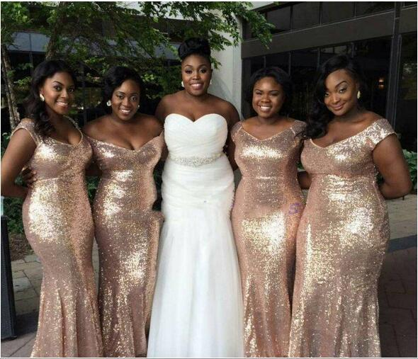 d5a6746a9730 Sparkly Rose Gold Cheap 2018 Mermaid Bridesmaid Dresses Off-Shoulder Sequins
