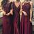 Multi Styles A-Line Floor-Length Maroon Bridesmaid/Prom/Evening Dress with