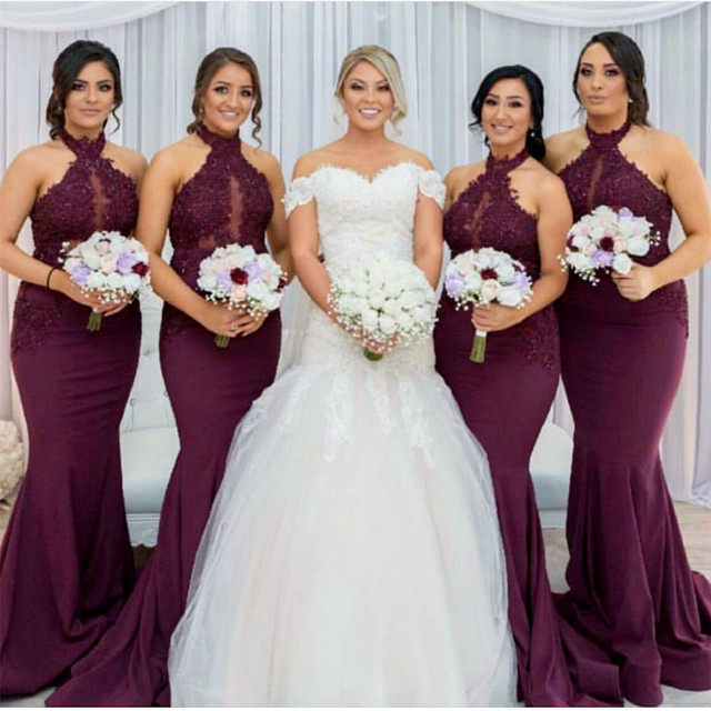 Halter Bridesmaid Dress,Mermaid Bridesmaid Dress,Grape Bridesmaid Dress,Long