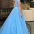 Two Piece A-line Off the Shoulder Open Back Light Blue Long Prom Dress with