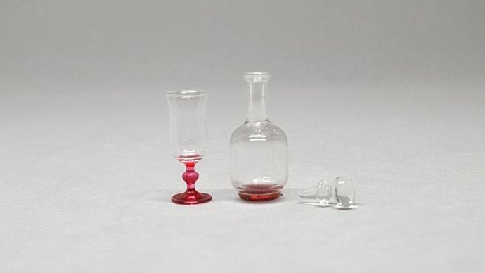Glass bottle vintage for dollhouse miniature handmade miniature Dinner room for