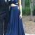 Dark Blue Two Pieces Prom Dress,V Neck Evening Dress,Open Back Party
