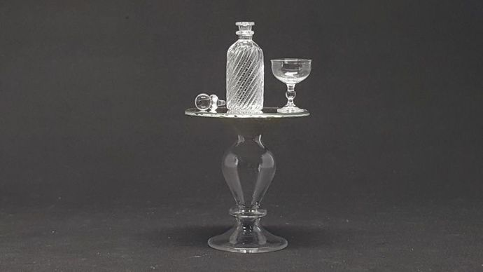 Bottle glass vintage style with lid and table glass for Dollhouse Miniature