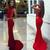 Sexy Red White Mermaid High Neck Sleeveless Long Prom Dresses J7403