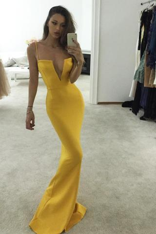 Unique Yellow Spaghetti Straps Notched Mermaid Prom Dress,Sexy Prom Gown U0831