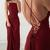 Spaghetti Straps Burgundy Sleeveless Formal Gown,Cheap Long Evening Dresses